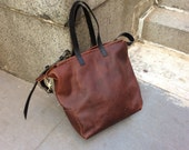 Train tote, large travel tote with handles, cross body strap, custom leather tote bag, made to order
