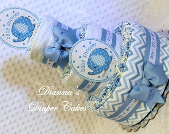Elephants Baby Diaper Cake Blue Baby Shower Gift or Centerpiece