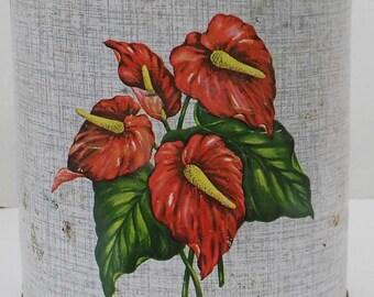 Vintage Tin Large Round Canister Red Floral Design Flour Bin