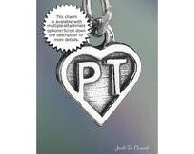 Physical Therapist or Personal Trainer Charm Sterling Silver PT Heart