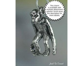 Chimpanzee Charm Sterling Silver Chimp Primate Monkey 3D Solid .925