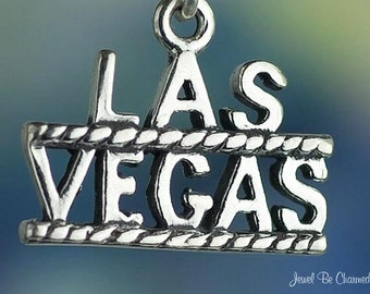 Sterling Silver Las Vegas Charm Nevada City Vacation Tourist Solid 925