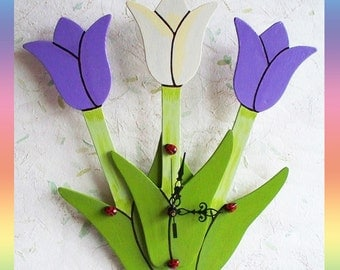 Tulip Wall Clock Ladybug , Battery Operated, Lavender and Tapioca Tulips, Wood Base. Wall Decor