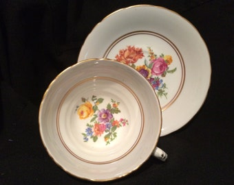 White Border Tea Cup and Saucer - Sutherland - Wedding Table Setting - Poppy  - Rose - Pansy - Flowers - Teacup