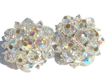 Vintage Cluster Clip On Earrings with Aurora Borealis Beads - Vintage Formal Evening Jewelry Signed Jonne