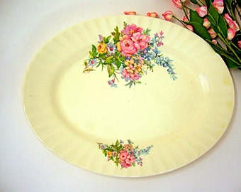 Antique china platter, pink floral garden, home & living, serve cheese fruit bread veggies crackers cookies candy, vintage hostess gift idea