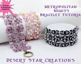 Silky Deco Cuff Bracelet Tutorial, As Seen in Beadwork Magazine, Metropolitan Nights Bracelet Pattern, Two Hole Beads PDF Instructions