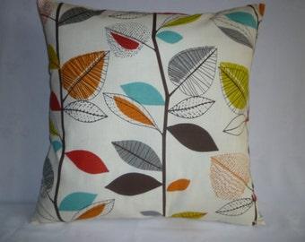 "BIG 22"" Orange Euro Sham Blue Green Designer Cotton Cushion Cover.Pillowcase Sham Slip"