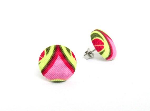 SALE Bright pink green button earrings - tiny retro fabric earrings - funky stud earrings - spring earrings