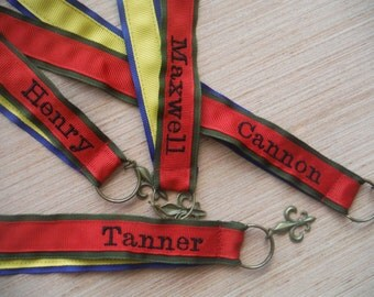 Scout Brag Ribbon for Cub Scouts & Boy Scout Mothers Pins - Lanyard - Proud Parent Mom Brag RIbbon Embroidered name Scouting advancement pin