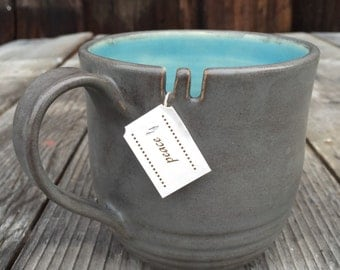 Coffee cup mug - oversized extra large cappuccino mug ceramic in grey and aqua latte large