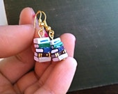 Stack of Books Earrings, Green/Blue/Brown (Made to Order) - Book Jewelry by Coryographies