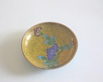 Vintage Yellow Floral Cloisonne Dish