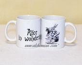White Rabbit Illustration, Alice mug