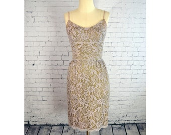 Vintage 1950's/1960's Lavender and Olive Green Lace Dress, Sleeveless Illusion Lace Sheath Cocktail Dress