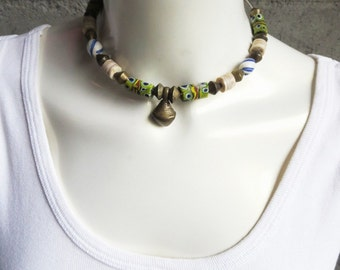 OLD African Assorted Trade Beads, Hand-made Jewelry, Choker Necklace-4