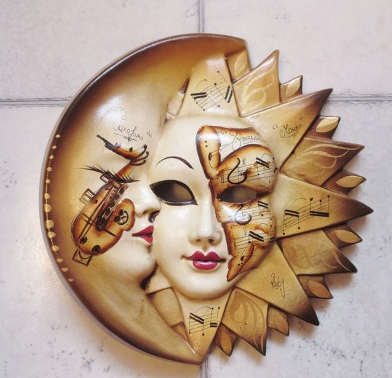Authentic Venetian Ceramic Wall Mask Hand Painted Celestial
