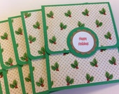 Happy Holidays Gift Card Holders, Green Cards, Holly Cards, Christmas Envelopes, Set of 8 Cards and Envelopes