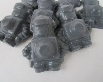 50 Robots Soap - kids party favor, baby shower favor, gray robot soap, birthday favors
