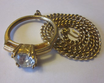 Put a Ring On It - Vintage Gold Tone Ring Necklace