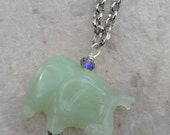 Jade Elephant Necklace on Long Silver Chain