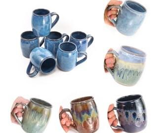 Hand thrown stoneware mug- classic barrel shape/ coffee mug   tea mug   hand thrown pottery mug   wheel thrown mug   MADE TO ORDER (6 weeks)