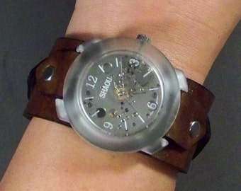Leather Watch-Steampunk Watch-Mechanical Watch-Vintage Watch-Men Watch-Women Watch-Skeleton Watch-Brown Leather Watch-Wrist Watch-Gifts