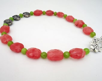 Сherry Quartz and Kyanite Necklace, Pink and  Green Necklace, Gemstone Necklace, Floral Necklace, UK Seller