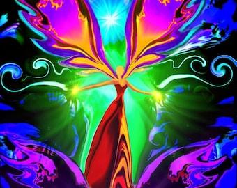 """Reiki Attuned Angel Art, Manifestation Violet Flame  """"Angel of the Violet Flame"""""""