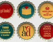 Book Magnet Set - 6 Bottle Cap Magnets - book baby shower favors, book lover gift, book club gift, book club party favor, librarian gift