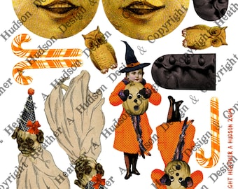 Vintage Halloween Pumpkin Moon Witch Boot Victorian Digital Collage sheet Printable