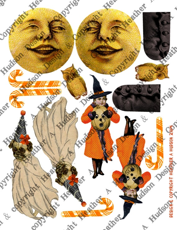 Vintage Halloween Pumpkin Moon Witch Boot Victorian Digital Collage sheet Printable
