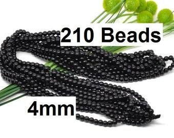 4mm Black Glass Pearl Imitation Round Beads - 32 inch strand