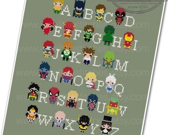 Superhero Alphabet Sampler - The *Original* Pixel People Minis - PDF Cross-stitch Pattern - INSTANT DOWNLOAD