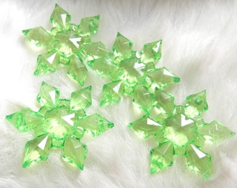 10 Acrylic Lime Green Transparent Snowflake Connectors, 2mm hole top and bottom, Pendants, Ornaments, Christmas, Holidays, 45mm