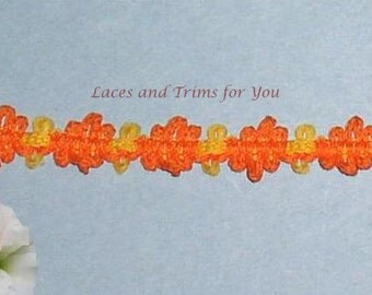 Orange Braided Trim 7/14 Yards Fancy 1/2 inch wide Lace Trim R96 Added Items Ship No Charge