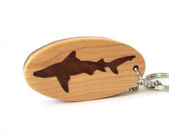 Black Tip Shark Key Chain Bull Shark Key Chain Wood Shark Key Ring Shark Key Fob Sapele