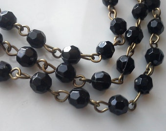 6 Feet of  6 mm Black Plastic   Beaded Rosary Chain with Brass Chain, Black Bead Chain