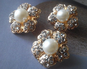 Gold Metal Button Clear Rhinestone and Ivory Pearl 10 Pieces  21 mm  Bridal Bouquet Flower Hair Embellishment, Bridal Accessory