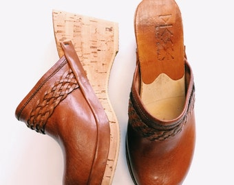 1970's Deadstock Italian Leather and Cork Clogs / size 6