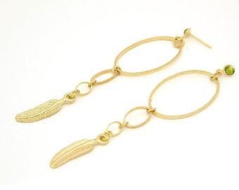 Women's Gift, Gold Hoops, Feather Earrings, Long Earrings, Statement Earrings, Boho Chic, Bohemian Wedding Earrings, Boho Hoop Earrings