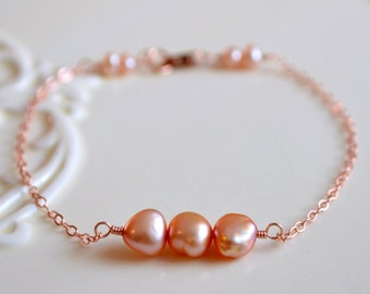 Rose Gold Bracelet, Freshwater Pearl, Champagne Taupe Peach, Real Genuine, Bridesmaid, Delicate Jewelry, Free Shipping