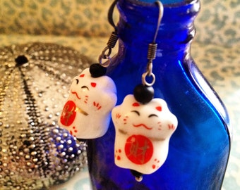 Chinese Good Luck Kitty Earrings