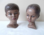 Vintage Marwal Style Polynesian Boy and Girl Head Bust Set