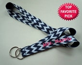 PERSONALIZED Lanyard With NAME in Chevron Print Your Choice of Fun Ribbon Prints Perfect for Mom, Teacher, Student, Nurse