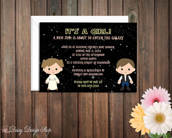 baby shower invitation star wars inspired galactic space princess