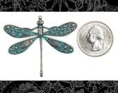 Copper Plated with Aqua Finish Vintage Dragonfly Verdigris Pendant  V-P01