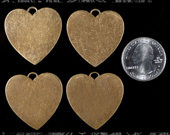 Four Heart Shaped Antique Brass Blank Brass Stampings * AB-P63