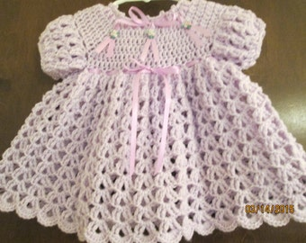 pretty lavender crochet baby dress