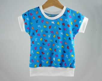 SALE// Girls toddler kids summer clothes, colorful birds on blue, modern girls shirt, girls clothes, sale, 12-18m, 2t 3t 4t 5t